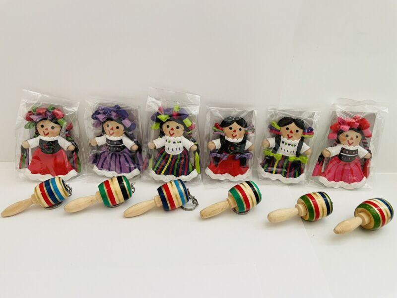 "Maria Lele Handcrafted Mexican Doll 3"" Magnet Doll Original Muñeca w/Trompo ~NEW"