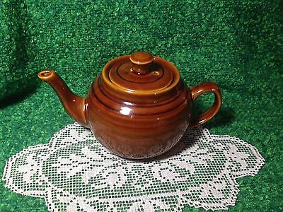 OLD FASHION COUNTRY STYLE BROWN POTTERY GLAZE TEAPOT TO BREW  LOOSE LEAF TEA