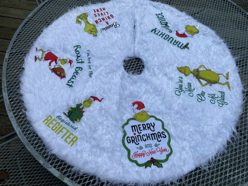 """GRINCH Christmas Tree Skirt 42"""" Hand-Crafted"""