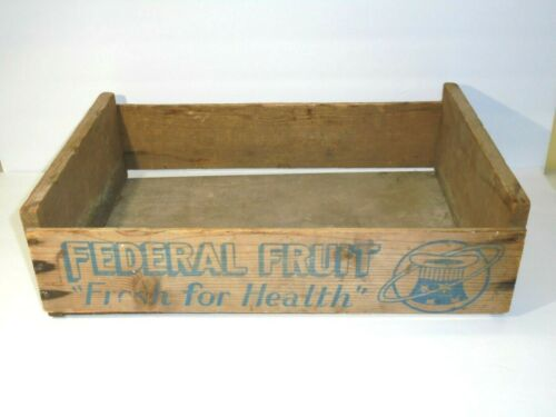 Vintage FEDERAL FRUIT Wood Produce Crate Decor