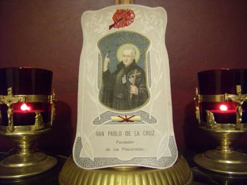 St. Paul of the Cross Holy Relic Blessed Palm Holy Card w/Seal & Prayer Card
