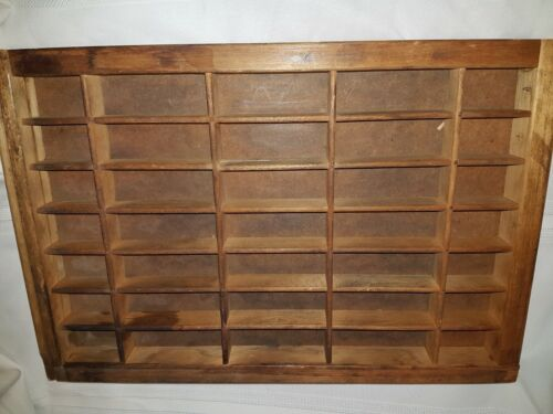 Vintage Printer Type Set Drawer Wood Cabinet Tray Display Shadow Box