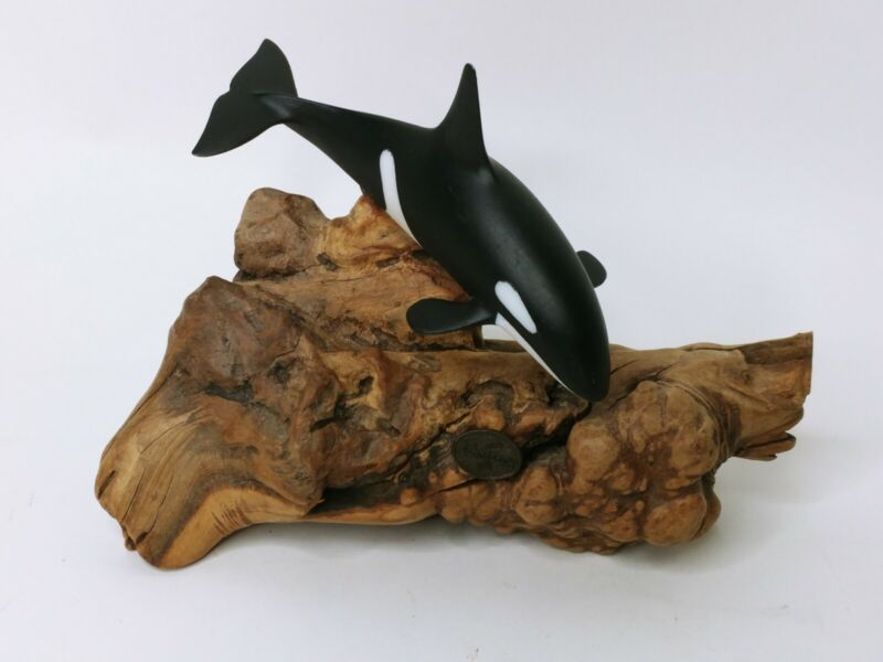 JOHN PERRY Orca Killer Whale Sculpture *Resin & Burled Wood