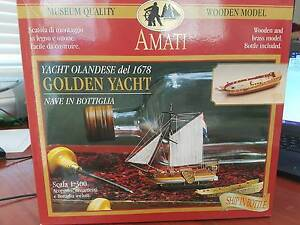 Amati Golden Yacht Wooden and Brass ship in a bottle (1350) Model Killarney Heights Warringah Area Preview