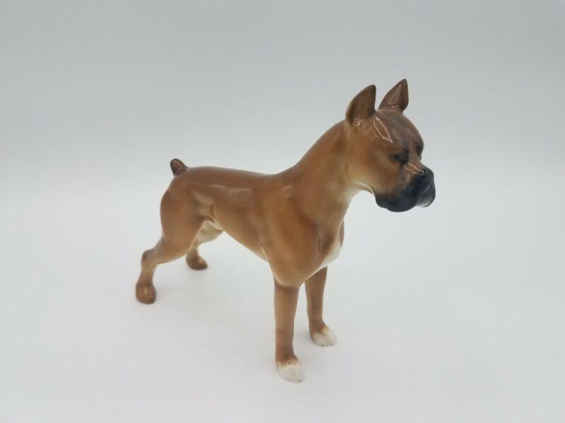 German Hutschenreuther JHR Porcelain Male Dog Figurine - Standing Brown Boxer