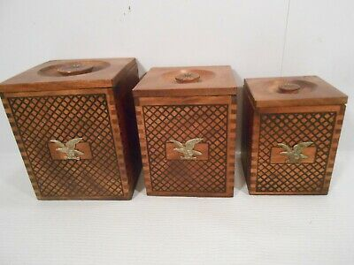 Set of 3 Vintage Wood Decorative Nesting Boxes w/ American Eagle ()