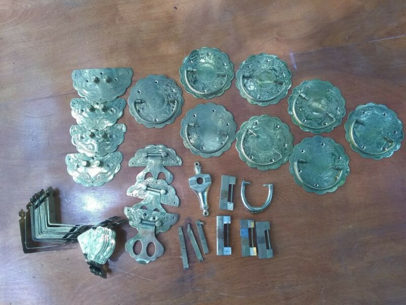 Large Lot of Furniture Hardware --  Brass