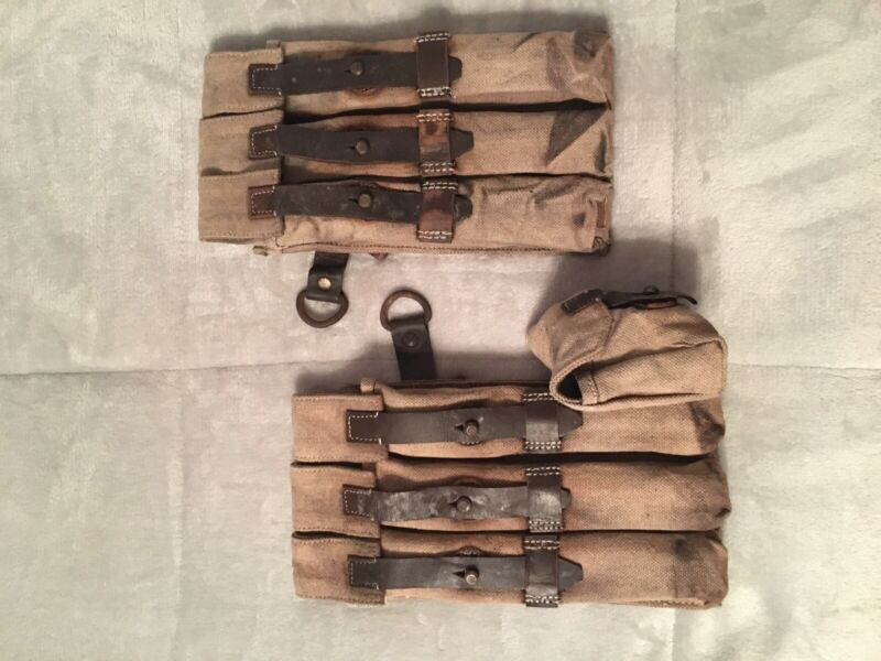 WWII German Reproduction MP38/40 Pouches  Aged