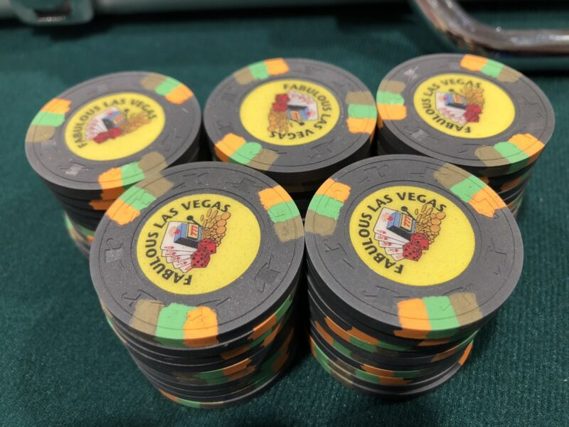 50 Fabulous Las Vegas Poker Paulson Poker Chips $100 Home New NCV