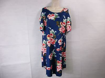For G & PL Women's XL Navy Floral Cold-Shoulder T-Shirt Dress  NEW