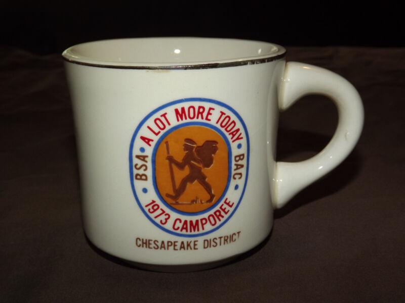 VINTAGE BSA BOY SCOUTS COFFEE MUG 1973 CAMPOREE CHESAPEAKE DISTRICT