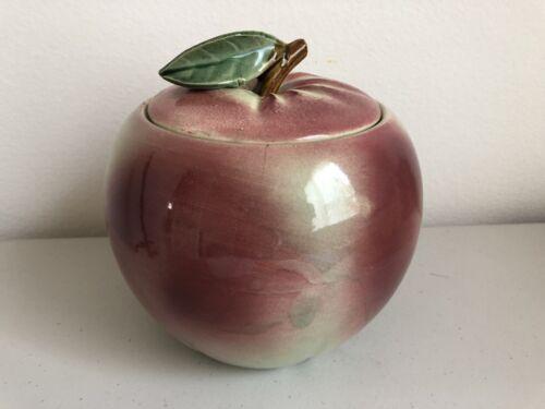 Vintage McCoy Apple Cookie Jar 1950s s Blushing Peach With Lid Very Nice - $39.75