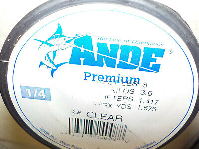- 1/4lb SPOOL OF ANDE PREMIUM BASS CATFISH MONOFILAMENT FISHING LINE CHOICE # TEST