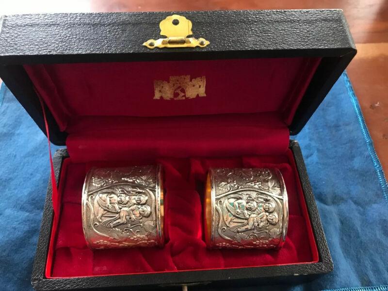 Pair (2) Antique Corbell & Company Quadruple Silver Plate Napkin Rings