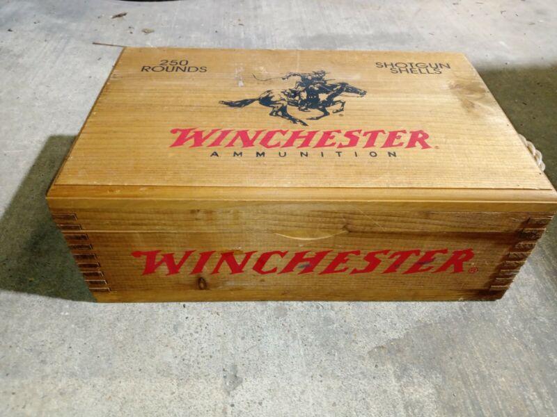 Vintage Winchester 250 Rounds Shotgun Shells Wooden Ammo Box