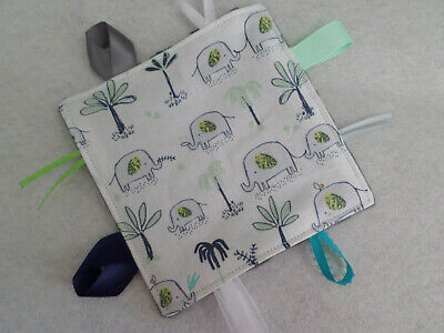 Elephants - Handmade Crinkle Tag Rag Baby Toy, Sensory Crinkly Toy