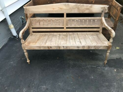 "Vintage Bench American natural finish Carved Wood (60"" long)."