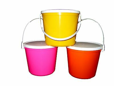 3 80 OZ  PLASTIC BUCKETS & LIDS 1 EA PINK YELLOW ORANGE MADE IN USA  LEAD - Pink Plastic Bucket