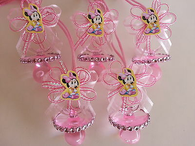 12 Minnie Mouse Pink Pacifier Necklaces Baby Shower Game Favors Prize Girl Decor](Pink Minnie Mouse Decorations)