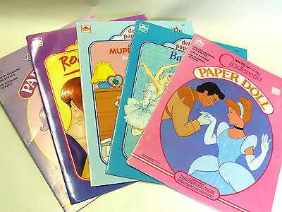 Lot of 5 vintage paper dolls books, by Golden