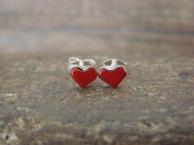 Zuni Indian Sterling Silver Coral Heart Post Earrings - Neha