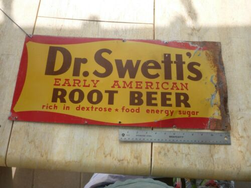 VINTAGE Dr. Swett's Early American Root Beer Tin Litho Advertising Soda Sign