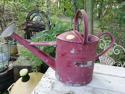 Vintage Haws 1 Gallon Galvanised Watering Can With Rose & Brass Badge