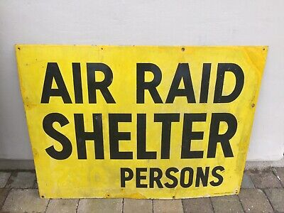 Genuine Vintage WW2 Air Raid Shelter Enamel Sign