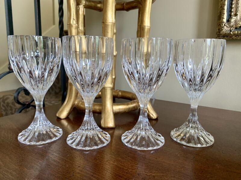 Vintage Set of 4 Mikasa Park Lane Crystal Wine Glasses