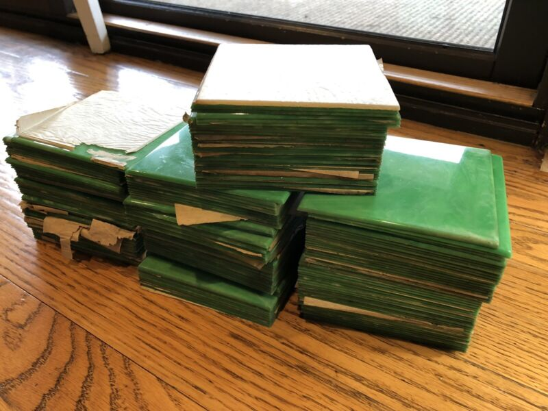 Huge Lot Of 180 Vintage Green Marble Plastic Tiles; NOS; 4.25 X 4.25; Salvage