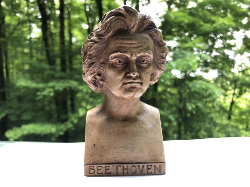 Vintage Ludwig van Beethoven bust statue Sculpture Unique Marked Bonn 1960 12cm