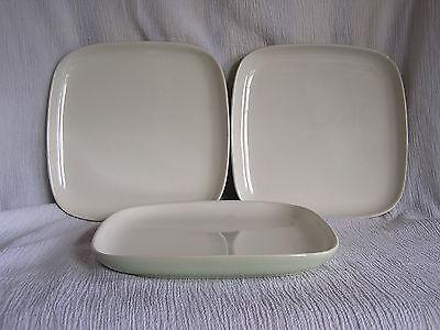 3 MSE Martha Stewart Square Soft Green Cream Elegant Dinner Plate Dish 10