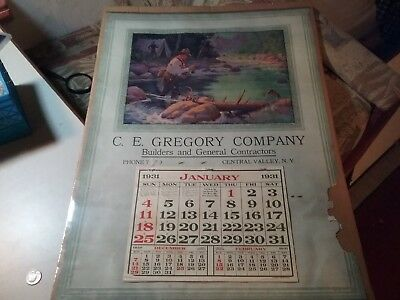 Antique 1931 C.E. GREGORY COMPANY BUILDERS CENTRAL VALLEY NY Advertising fly fis