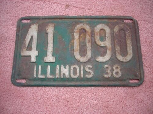 1938 Illinois license plate, man cave, rusty, rustic, vintage, bar, decor, antiq