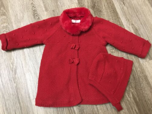 Mayoral Baby Girl Knit Red Fully Lined Pram Coat Sweater and Bonnet 4-6 M 70cm