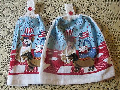 Cat Dish Towels - 2 Hanging Kitchen Dish Towels w/ Crochet Tops July 4th Dog Cat Fireworks Picnic