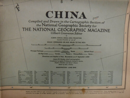Vintage China Map June 1945 National Geographic Society