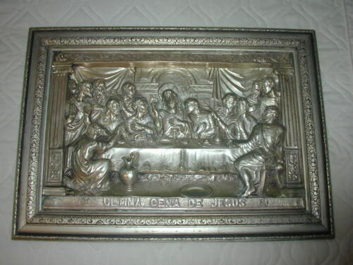Vintage Jesus Christ The Last Supper Silver Platted Metal Relief Religious Art