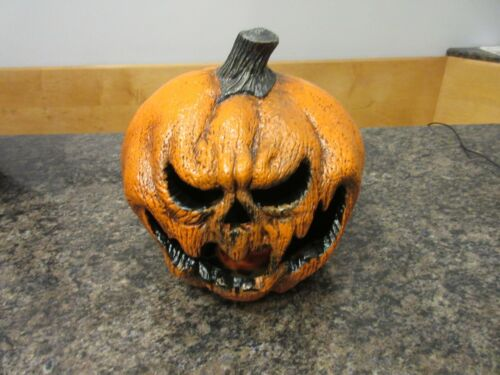 Scary Evil Pumpkin Blow Mold Light Up by Seasonal Visions Rare Halloween Prop