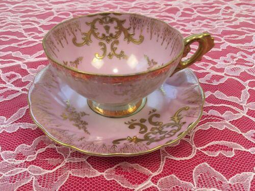 Vintage Royal Sealy China Japan Pink Lusterware Tea Cup Teacup & Saucer Set