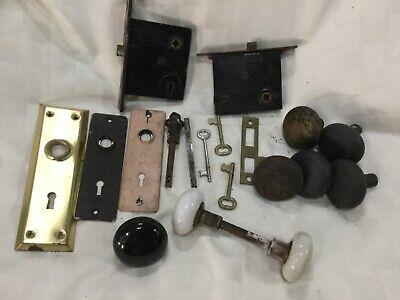 Lot of Door Knobs Mortise Locks Keys Hardware Vintage Porcelain