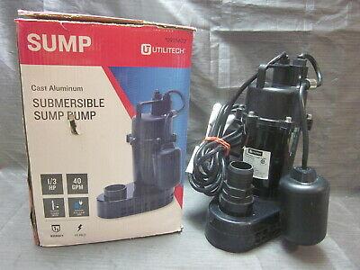 Utilitech Cast Aluminum Sump Pump 0955622 13rd Hp 40gpm - Black - Works Great