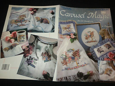Leisure Arts CAROUSEL MAGIC cross stitch pattern - 6 designs horses NEW
