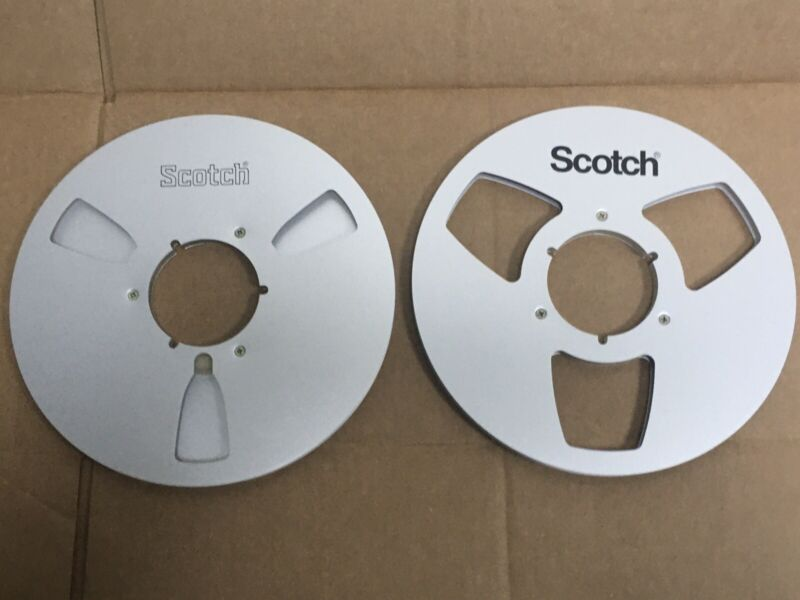 """2 - SCOTCH 1/4"""" Empty 10.5 Metal Take Up Reels For Audio or Media Room"""