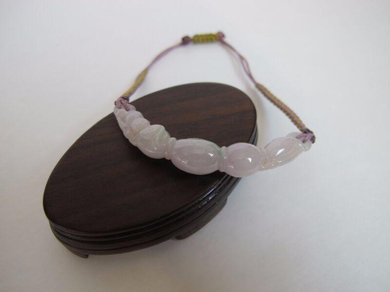 100% Natural Type A Lavender Jadeite Jade Lotus Root Stretch Bracelet J00073