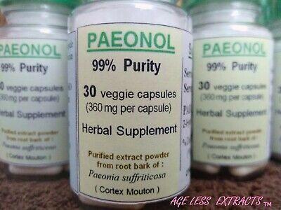 PAEONOL, 99%, 30 x 360mg capsules, Anti-inflammatory, Anti-oxidant, Anti-aging