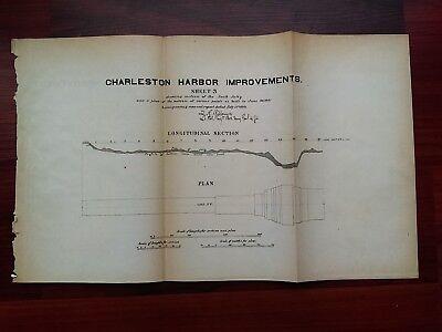 1881 Sketch Diagram Charleston Harbor Improvements South Carolina S. Jetty