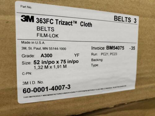 "3M Trizact Cloth Sander Belts 52"" X 75"" Wet/Dry 363FC Grade A300 Timesaver"