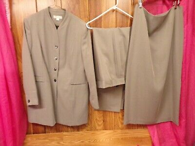 DRESSBARN 3-PC Gray Pant Suit ~ Blazer Pants Skirt ~ Work Career Size 16