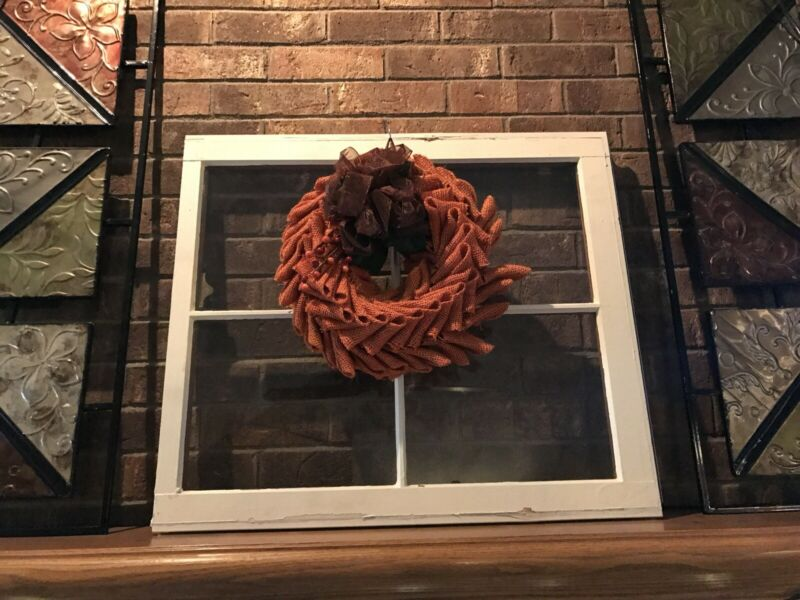 4 Pane Wood Window Frame vintage wooden sash Wreath Hanger Window Old Wood Windo
